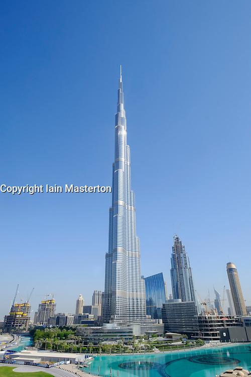 View of Burj Khalifa skyscraper in Downtown Dubai United Arab Emirates