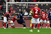 Own Goal - Terence Kongolo (5) of Huddersfield Town scores an own goal to give a 2-0 lead to the home team during the EFL Sky Bet Championship match between Bristol City and Huddersfield Town at Ashton Gate, Bristol, England on 30 November 2019.