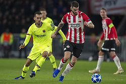 November 28, 2018 - Eindhoven, Netherlands - Gaston Pereiro of PSV and Sergio Busquets of Barcelona during the UEFA Champions League Group B match between PSV Eindhoven and FC Barcelona at Philips Stadium in Eindhoven, Netherlands on November 28, 2018  (Credit Image: © Andrew Surma/NurPhoto via ZUMA Press)
