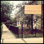 Francis Scott Key Elementary, 517 N Parkside Ave in Austin. Opened 1907, closed 2013. Designed by Prairie School architect Dwight H Perkins who built several CPS buildings of this period. Photographed Monday, Aug. 26, 2013 with an iPhone and the Instagram filter Brannan. (Brian Cassella/Chicago Tribune) B583150507Z.1 <br /> ....OUTSIDE TRIBUNE CO.- NO MAGS,  NO SALES, NO INTERNET, NO TV, CHICAGO OUT, NO DIGITAL MANIPULATION...
