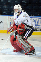 KELOWNA, CANADA, OCTOBER 22: Jared Rathjen #1 of the Victoria Royals defends the net during warm up as  the Victoria Royals visited the Kelowna Rockets on October 22, 2011 at Prospera Place in Kelowna, British Columbia, Canada (Photo by Marissa Baecker/shootthebreeze.ca) *** Local Caption *** Jared Rathjen;