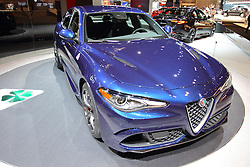 11 February 2016: Alfa Roomeo Giulia 4 door.<br /> <br /> First staged in 1901, the Chicago Auto Show is the largest auto show in North America and has been held more times than any other auto exposition on the continent.  It has been  presented by the Chicago Automobile Trade Association (CATA) since 1935.  It is held at McCormick Place, Chicago Illinois<br /> #CAS16