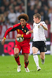 11.10.2011, Esprit Arena, Duesseldorf, GER, UEFA EURO 2012 Qualifikation, Deutschland (GER) vs Belgien (BEL), im Bild Zweikampf Marouane Fellaini (#8 BEL) und Toni Kroos (#18 GER, Bayern Muenchen) // during the UEFA Euro 2012 qualifying round Germany vs Belgium  at Esprit Arena, Duesseldorf 2011-10-11 EXPA Pictures © 2011, PhotoCredit: EXPA/ nph/  Kurth       ****** out of GER / CRO  / BEL ******