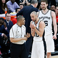 03 May 2017: San Antonio Spurs guard Manu Ginobili (20) talks to referee Tony Brothers (25) during the San Antonio Spurs 121-96 victory over the Houston Rockets, in game 2 of the Western Conference Semi Finals, at the AT&T Center, San Antonio, Texas, USA.
