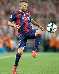 30.05.2015, Camp Nou, Barcelona, ESP, Copa del Rey, Athletic Club Bilbao vs FC Barcelona, Finale, im Bild FC Barcelona's Jordi Alba // during the final match of spanish king's cup between Athletic Club Bilbao and Barcelona FC at Camp Nou in Barcelona, Spain on 2015/05/30. EXPA Pictures &copy; 2015, PhotoCredit: EXPA/ Alterphotos/ Acero<br /> <br /> *****ATTENTION - OUT of ESP, SUI*****