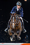 HONG KONG - FEBRUARY 19:  Denis Lynch of Ireland rides Ho Go van de Padenborre during The Hong Kong Jockey Club Trophy as part of the 2016 Longines Masters of Hong Kong on February 19, 2016 in Hong Kong, Hong Kong.  (Photo by Aitor Alcalde Colomer/Getty Images)