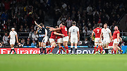 Referee Jerome Garces blows the final whistle and Wales players celebrate their historic win during the Rugby World Cup Pool A match between England and Wales at Twickenham, Richmond, United Kingdom on 26 September 2015. Photo by David Charbit.