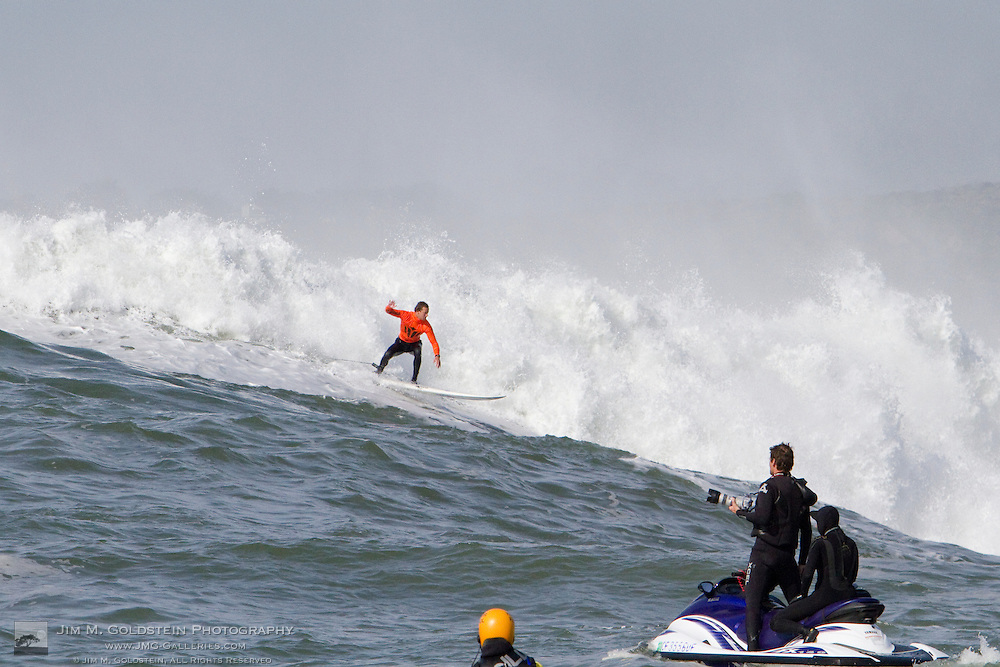 Chris Bertish, first place finisher at the 2010 Mavericks Surf Contest, drops into a giant wave during the finals - Half Moon Bay, California - February 13, 2010