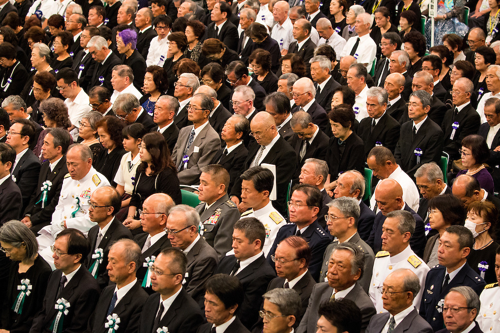TOKYO, JAPAN - AUGUST 15 : People attends the ceremony to pay respects during the memorial service at the Nippon Budokan on the 71st anniversary of the Japan's war surrender on August 15, 2016 in Tokyo, Japan. (Photo by Richard Atrero de Guzman/NURPhoto)