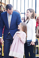 Queen Letizia of Spain, King Felipe VI of Spain and Princess Leonor attended the Easter Mass at the Cathedral of Palma de Mallorca on April 5, 2015 in Palma de Mallorca, Spain.