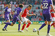 Middlesbrough midfielder Marcus Tavernier (28)  goes past Stoke City midfielder Joe Allen (4)  during the EFL Sky Bet Championship match between Middlesbrough and Stoke City at the Riverside Stadium, Middlesbrough, England on 19 April 2019.