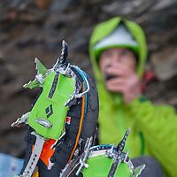 Raphael Slawinski Climbing his new route Blob Blob Blob, M6+ in Field, BC, Canada