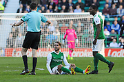 Andrew Shinnie complains to ref after one of dozens of fouls during the Ladbrokes Scottish Championship match between Hibernian and Falkirk at Easter Road, Edinburgh, Scotland on 25 March 2017. Photo by Kevin Murray.