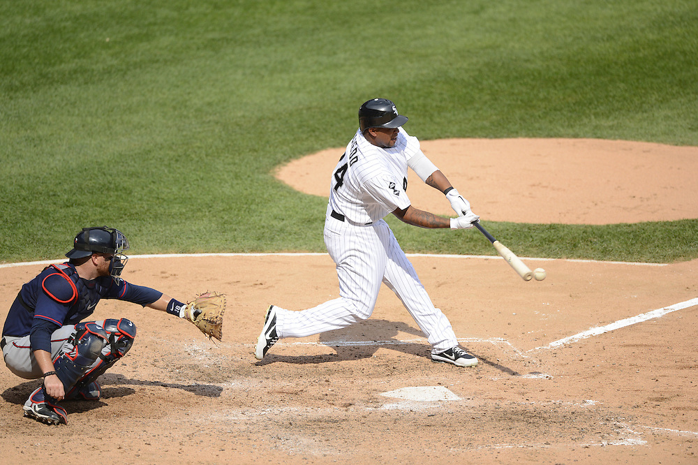 CHICAGO - SEPTEMBER 05:  Dayan Vicideo #24 of the Chicago White Sox bats against the Minnesota Twins on September 05, 2012 at U.S. Cellular Field in Chicago, Illinois.  The White Sox defeated the Twins 6-2.  (Photo by Ron Vesely)  Subject:    Dayan Viciedo