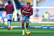 Grady Diangana of West Ham United (45) warming up during the Premier League match between Huddersfield Town and West Ham United at the John Smiths Stadium, Huddersfield, England on 10 November 2018.