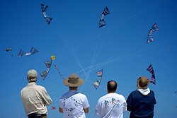 """Wildwoods International Kite Festival, Jersey Shore, NJ USA - May 26, 2013; Team Rev Riders from New England performs a group demonstration with highly maneuverable four-line kites. ..( Part of a reportage published on WHYY's NewsWorks.org May 29, 2013: """"High flyers compete at Wildwood kite festival"""" - http://shar.es/w02y1 )"""