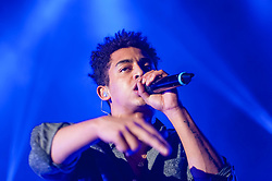 """© Licensed to London News Pictures. 01/03/2014. London, UK.   Rizzle Kicks performing live at Hammersmith Apollo. In this picture - Jordan Stephens.  Rizzle Kicks are an English hip hop duo from Brighton, consisting of Jordan """"Rizzle"""" Stephens and Harley """"Sylvester"""" Alexander-Sule.   Photo credit : Richard Isaac/LNP"""