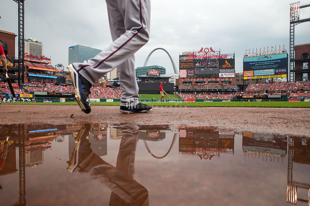 ST. LOUIS, MO - JUNE 16: Kyle Gibson #44 of the Minnesota Twins walks on the field following a rain delay against the St. Louis Cardinals on June 16, 2015 at Busch Stadium in St. Louis, Missouri. The Cardinals defeated the Twins 3-2. (Photo by Brace Hemmelgarn) *** Local Caption *** Kyle Gibson