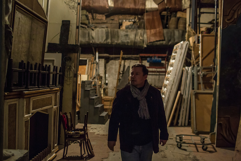 DONETSK, UKRAINE - FEBRUARY 1, 2015: Andrey Korienko, director of the Donetsk National Academic Opera and Ballet Theatre, back stage in Donetsk, Ukraine. The opera company kicked off a new season in October, despite a separatist insurgency in Eastern Ukraine that has killed more than 5000 people. CREDIT: Brendan Hoffman for The New York Times