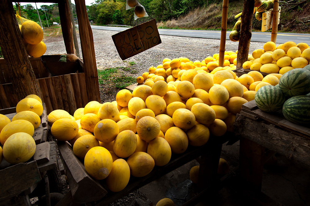 Costa Rica, Caldera, Pacific Coast, Fruit Stand, Melons