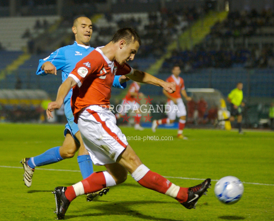 San Marino, San Marino - Wednesday, October 17, 2007: Wales' Neal Eardley in action against San Marino during the Group D UEFA Euro 2008 Qualifying match at the Serravalle Stadium. (Photo by David Rawcliffe/Propaganda)