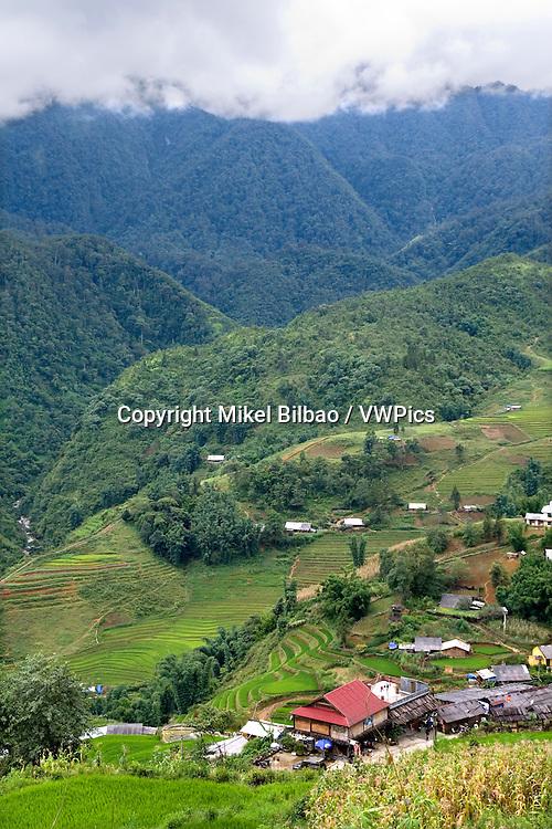 Mountains landscape and Cat Cat village.<br /> Sapa, Lao Cai province, Vietnam.
