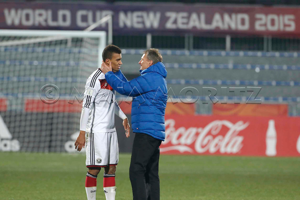 FIFA U20 World Cup New Zealand 2015, 11 June 2015, Christchurch, Germany - Nigeria, 1:0, Round of 16, Captain Kevin AKPOGUMA (GER, L) had an emotional game against Nigeria being half German, here with coach Frank WORMUTH (GER, R)