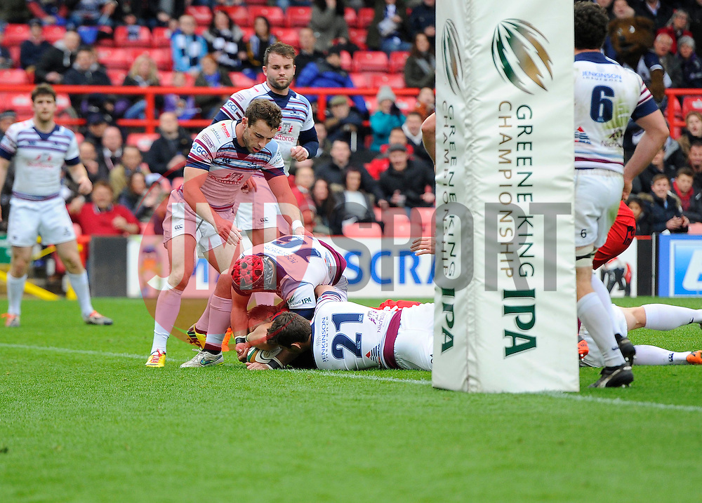 Bristol Winger Charlie Amesbury scores a try  - Photo mandatory by-line: Joe Meredith/JMP - Mobile: 07966 386802 - 02/05/2015 - SPORT - Rugby - Bristol - Ashton Gate - Bristol Rugby v Rotherham - Greene King IPA Championship