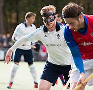TILBURG - . Felix Gulinck (Tilburg) met gezichtsmasker,  masker , neus, gebroken, Hoofdklasse hockey competitie Tilburg-SCHC (4-2). COPYRIGHT KOEN SUYK