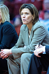 04 December 2009: Robin Pingeton gets an expression of disbelief on her as she watches from the bench. The Huskies of Northern Illinois University fall to the Redbirds of Illinois State University by a score of 85-57 on Doug Collins Court in Redbird Arena in Normal Illinois.