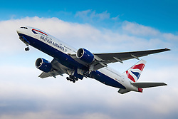 A Boeing 777 takes off at London's Heathrow Airport (LHR / EGLL).