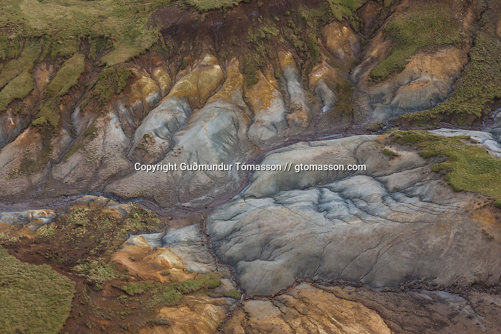 Areal view of a geothermal landscape near Seltún, Reykjanes, Iceland.