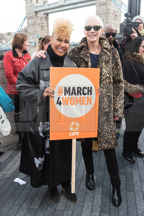 © Licensed to London News Pictures. 05/03/2017.  Emeli Sandé and Annie Lennox take part in a rally raising awareness of women and girls in third world countries who spend days walking for water. March also marks CARE's annual celebration for International Women's Day. London, UK. Photo credit: Ray Tang/LNP