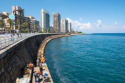 Men fishing from The Corniche in Beirut, Lebanon.
