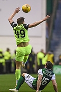James Forrest overpowers Lewis Stevenson to the ball during the William Hill Scottish Cup quarter final match between Hibernian and Celtic at Easter Road, Edinburgh, Scotland on 2 March 2019.