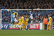 Millwall goalkeeper Jordan Archer(1) punches the ball clear during the EFL Sky Bet League 1 match between Bristol Rovers and Millwall at the Memorial Stadium, Bristol, England on 30 April 2017. Photo by Shane Healey.