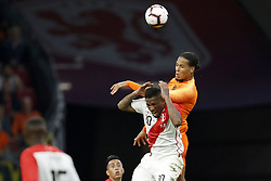 (L-R) Jefferson Farfan of Peru, Virgil van Dijk of Holland during the International friendly match match between The Netherlands and Peru at the Johan Cruijff Arena on September 06, 2018 in Amsterdam, The Netherlands