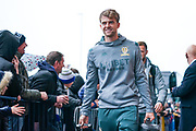 Leeds United forward Patrick Bamford (9) arrives at the ground during the EFL Sky Bet Championship match between Leeds United and Queens Park Rangers at Elland Road, Leeds, England on 2 November 2019.