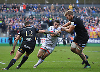Rugby Union - 2019 / 2020 European Rugby Heineken Champions Cup - Pool Three: Bath vs. Ulster<br /> <br /> Ulster Rugby's John Cooney is tackled by Bath Rugby's Jamie Roberts and Josh McNally, at The Recreation Ground.<br /> <br /> COLORSPORT/ASHLEY WESTERN