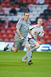 LIVERPOOL, ENGLAND - Thursday, May 14, 2009: Liverpool Echo's Andy Campbell during a match before the Hillsborough Memorial Charity Game at Anfield. (Photo by David Rawcliffe/Propaganda)