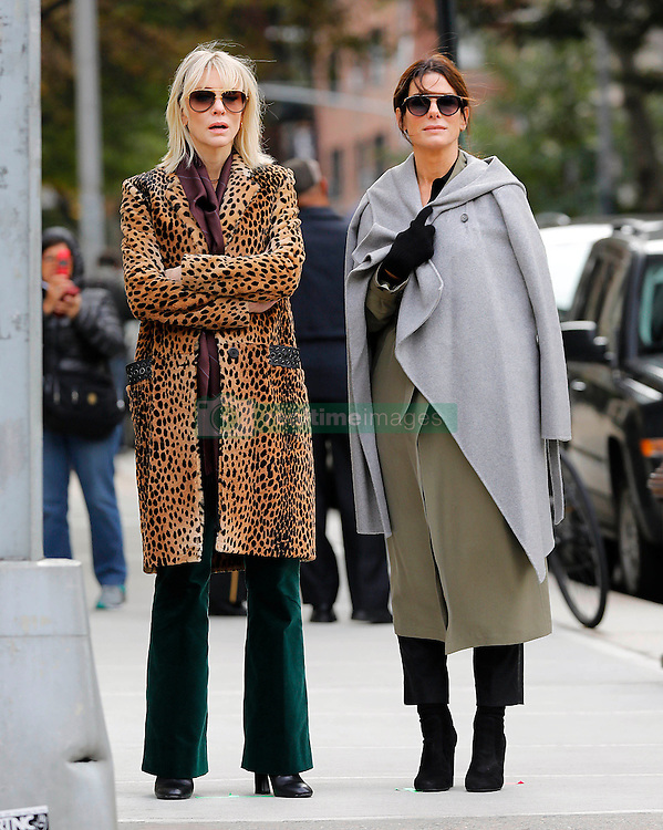 "Cate Blanchett and Sandra Bullock are seen on the set of ""Ocean's 8"" in New York, 25th October 2016."