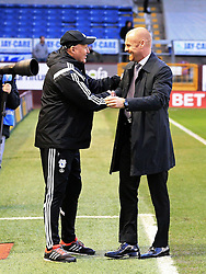 Cardiff City Manager Russell Slade shakes hands with Burnley Manager Sean Dyche  - Mandatory by-line: Matt McNulty/JMP - 05/04/2016 - FOOTBALL - Turf Moor - Burnley, England - Burnley v Cardiff City - SkyBet Championship