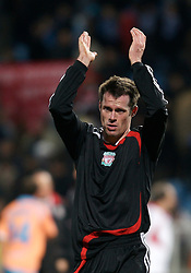 MARSEILLE, FRANCE - Tuesday, December 11, 2007: Liverpool's Jamie Carragher after his side's 4-0 victory over Olympique de Marseille during the final UEFA Champions League Group A match at the Stade Velodrome. The win secures the Reds' place in the knock-out phase of the competition. (Photo by David Rawcliffe/Propaganda)
