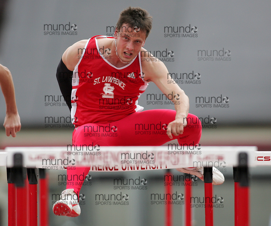 (Canton, USA---07 May 2010) Justin Spalik of St Lawrence University competes in the 110m hurdles at the St Lawrence University Saints twilight track and field competition. Sean Burges / Mundo Sport Images, 2010. www.mundosportimages.com
