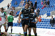 Late try scorer Leigh Halfpenny (r) celebrates his try with teammate Jamie Roberts (l). Cardiff Blues v Harlequins , Heineken cup match at the Cardiff City Stadium on Sat 10th Oct 2009. pic by Andrew Orchard,