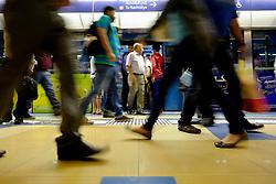 Passengers on Platform at station on Dubai metro system in United Arab Emirates