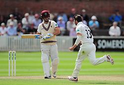 Mark Wood of Durham celebrates the wicket of Jim Allenby.  - Mandatory by-line: Alex Davidson/JMP - 05/08/2016 - CRICKET - The Cooper Associates County Ground - Taunton, United Kingdom - Somerset v Durham - County Championship - Day 2