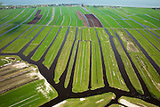 Nederland, Noord-Holland, Zeevang, 28-04-2010; .Polder Zeevang, vlak, open en waterrijk veenweidelandschap met kenmerkende verkaveling in lange stroken..Polder Zeevang, flat, open meadows and wetland ..luchtfoto (toeslag), aerial photo (additional fee required).foto/photo Siebe Swart