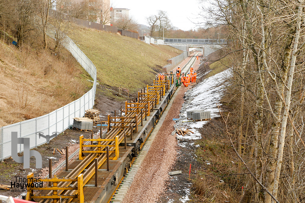 with only 1km to go to Tweedbank, the tracklaying train makes its slow progress to the terminus on 4th Feb 2015
