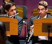 Orange County Youth Symphonic Orchestra flutist Elvin Schlanger and oboist Riyan El-Magharbel tune before a dress rehearsal for a joint performance of the and Beckman High School String Orchestra at Chapman University's Julianne Argyros Orchestra Hall on Sunday, May 14, 2017 in Orange, Calif. (Photo by Josh Barber, Orange County Register Contributing Photographer)